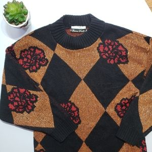Vintage Metallic Rose Diamond Sweater